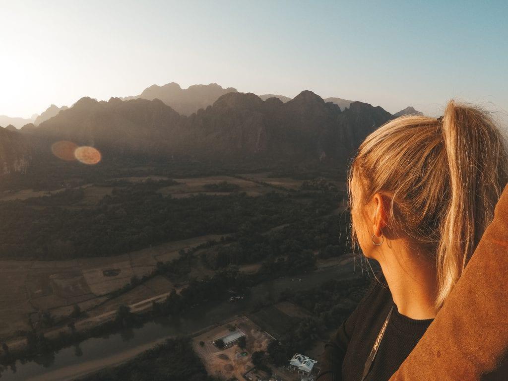 Laos luchtballonvaart uitzicht.