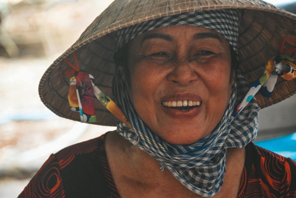 Portret Vietnamese vrouw Mekong Delta.