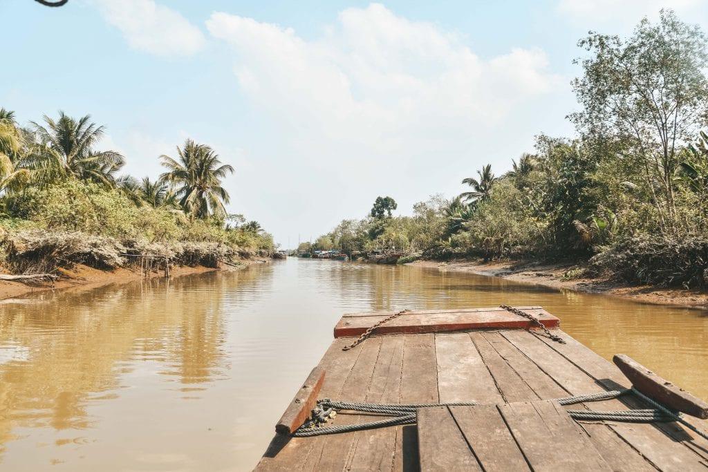 Vaar over de Mekong Delta in Vietnam.