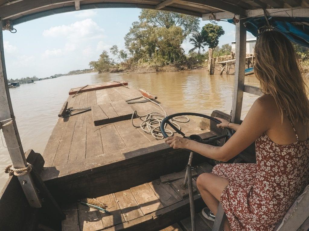 Zelf boot varen in de Mekong Delta.