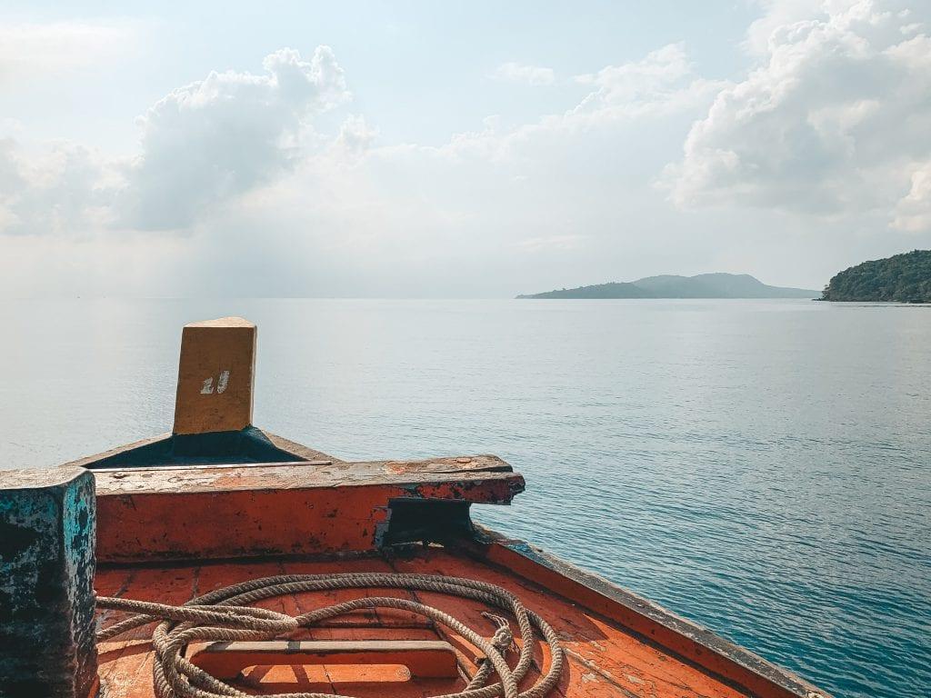 Uitzicht op zee in Cambodja.