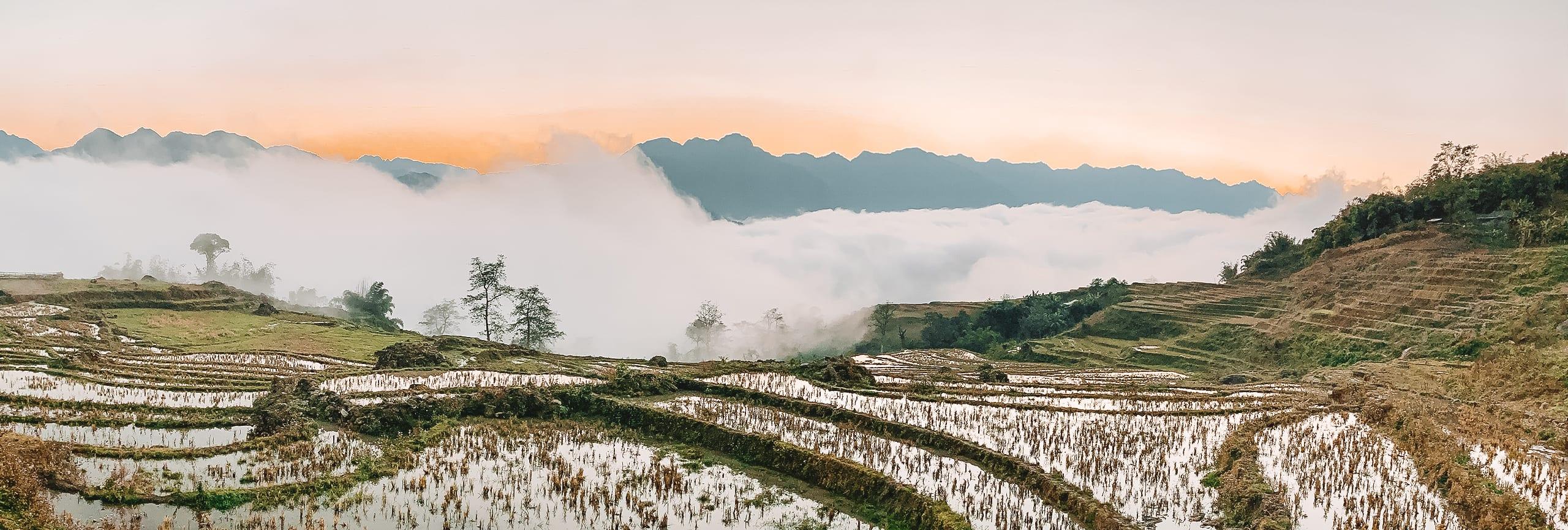Sapa uitzicht rijstvelden.